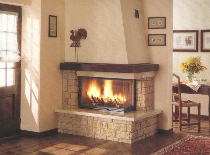 2.2kw 燃木壁炉,专门为大型客厅转角设计的组合式壁炉.